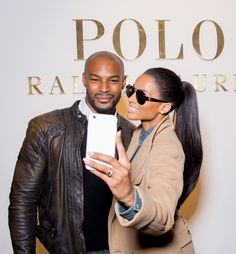 Tyson Beckford and Ciara pose outside of the Polo Ralph Lauren Fall '15 NYFW presentation
