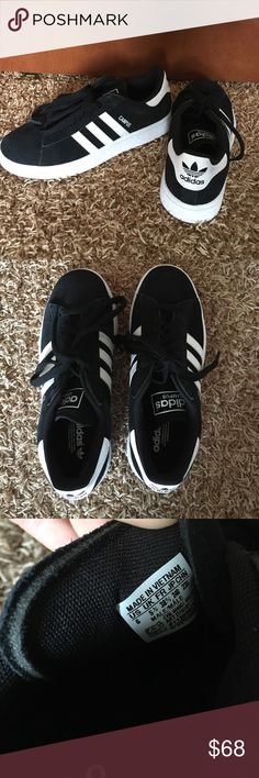 New Adidas original campus sneakers Like brand new without box!! Worn once so only few little dirts specks on bottom, but otherwise no signs of wear!! Black and white with black shoe laces. Just not my style! These say they are a size 6, but run very big so that is why I got a smaller size because normally I wear a 7/7.5. These are still a bit big for me. Fit more like an 8/8.5! Feel free to make and offer! :) Adidas Shoes Sneakers