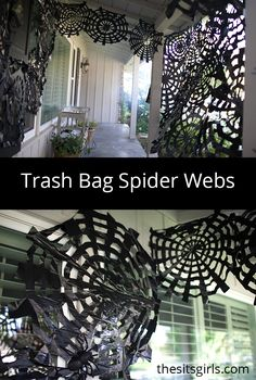 Use trash bags to make amazing Halloween decor! Cover your porch in spooky trash bag spider webs with these step by step instructions and video tutorial.