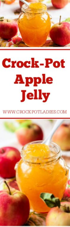Crock-Pot Apple Jelly - Turn fresh apples into lovely jelly with this simple recipe for Crock-Pot Apple Jelly. With just 4 ingredients you will have your own flavorful jelly to spread on your morning toast or English muffin. Can be canned in jars for long term food storage. [Gluten Free, Low Calorie, Low Carb, Low Cholesterol, Low Fat, Low Sodium, Low Sugar, Vegan, Vegetarian & ZERO Weight Watchers SmartPoints per serving!] #CrockPotLadies #CrockPot #SlowCooker #Jelly #Canning
