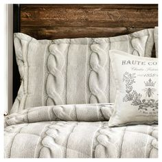 Grey Printed Cable Knit Comforter Set (Full/Queen) 4pc - Lush Decor, Gray