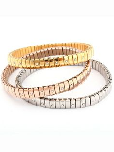 Three Colors Set Bracelet with Diamond [FWBJ00275] - PersunMall.com