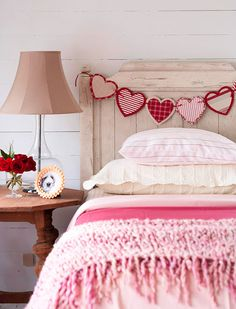 valentine decor and crafts | Heart Garland . You can use recycled beads, lace, paper, or felt for ...