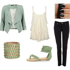 mint green cream and black church outfit, created by amandasmith1793 on Polyvore