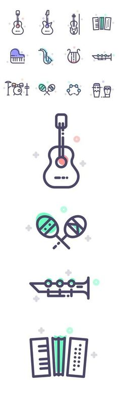 Free Musical Instruments Line Icons (12 Icons)