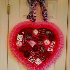Candy box valentine wreath.