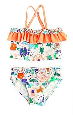 Floatimini Little Girls Multi Floral Tankini Set 3T Apricot *** You can get additional details at the image link.