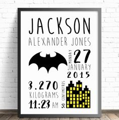 Batman Personalised Baby Nursery Wall Art Print, Birth Announcement, Batman Superhero