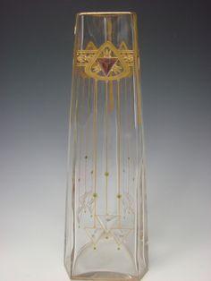 "Secessionist Bohemian Riedel Poschinger Jeweled 15"" Triangular Glass Vase"