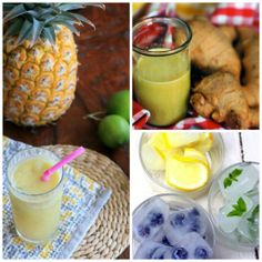 DRINK ENERGIZANTE -  200g de abacaxi em pedaços; 100ml de suco de laranja; 20g de gengibre; cubos de gelo à gosto. - Bata todos os ingredientes no liquidificador e sirva sem coar.
