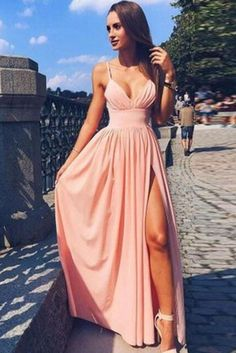Spaghetti Straps Long Pink V-neck Front Split Prom Dresses For Teens,Graduation Dresses,Long Homecoming Dresses DR0517 #graduationdresses ##simple #cheap #promdresses #promdresseslong #pink #elegant #forteens #pageantdresses