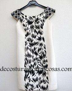vestido estuche combinado