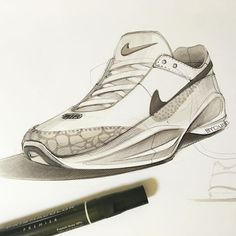footwear sketch #kickstagram #marker #prismacolor #drawing #nike #illustration… Sneakers Sketch, Shoe Sketches, Object Drawing, Industrial Design Sketch, Sneaker Art, Polychromos, Shoe Art, Sketch Design, Designs To Draw