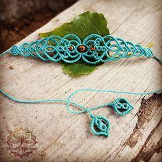 32€ . Www.etsy.com/shop/tribalmacrame Macrame bracelet, choker, tiara, head piece, boho, hippie, faery, elven, festival, gypsy, bohemian jewelry.