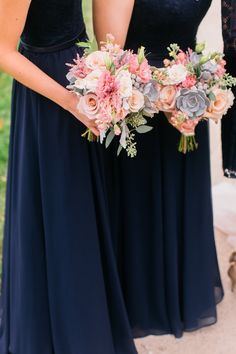 large organic arrangement filled with eucalyptus, bay leaves, snapdragon, roses, astilbe, Cafe Au Lait dahlias, pink snowberry, queen anne's lace, and more. The ladies' navy dresses made the pastel florals pop beautifully, as did the linens on the reception tables. The dusty blue succulents in every bouquet tied all of the colors together perfectly. beautiful wedding @ the Danada House in Chicago, featured in The Knot, these photos via Life In Bloom Chicago blog, Pastel Bouquets