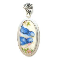 Broken China Jewelry Vintage Bluebird Blue Bird Couple Sterling Tall Oval Pendant - Vintage Belle Broken China Jewelry