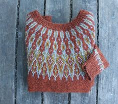 Beautiful colorwork yoke sweater in burnt orange. Icelandic Sweaters, Fair Isle Pattern, Fair Isle Knitting, How To Purl Knit, Pulls, Knitting Projects, Knitting Patterns, Knit Crochet, Handmade