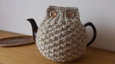 Oatmeal hand knitted tea cosy with wooden button detail - Size Large - Ready to ship on Etsy, $25.60