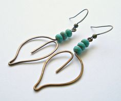 Copper Leaf Earrings, Hammered Copper Wire, Small Leaf Earrings, Turquoise Dangles, Boho Leaf Earrings, Copper Turquoise, Wire Leaf Earrings