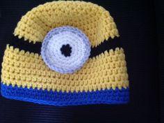 Gehaakte Minionmuts, crocheted minionbeanie.  Despicable me