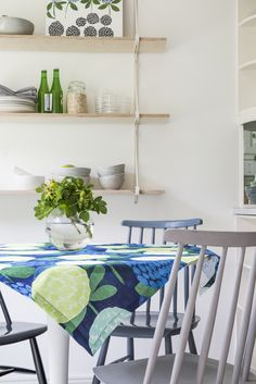 Apila Table Cloth | The kitchen textiles of Apila series create summery feeling to your home and cottage. Designed by Liina Harju, the Apila pattern is like a delicious candybag. Painted with acrylics and in a naive style, the atmosphere of Apila is a combination of deep and bright colours.