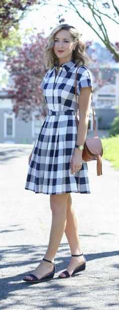 What to wear to your company picnic {gingham shirt dress, ankle strap sandals, saddle bag}