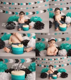 Modern boy cake smash session, tribal, arrows, teal white and black cake smash session. Wild one cake smash  Two Sisters Photography, Bonney Lake, WA