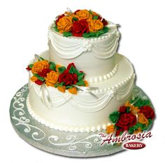 Fall Is In The Air This Two Tier Wedding Cake For That Small  cakepins.com