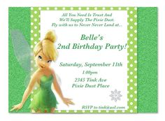 Tinkerbell Customized Invitations by MyFashionLove on Etsy, $5.00
