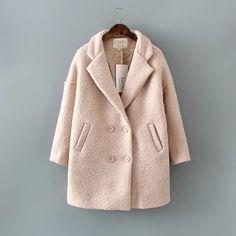Fleece sashes long slim Thick Warm women winter wool coat 2017 Fashion belt pocket parkas Cashmere blend jacket female