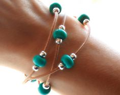 Beaded Leather Bracelet Silver Bali Beads by SeaRanchJewelry