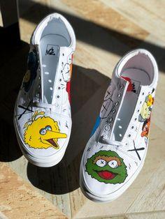 KAWS x Sesame Street Vans Old Skool — Nykeria Shoes - piecethous. Custom Slip On Vans, Custom Vans Shoes, Mens Vans Shoes, Custom Painted Shoes, Vans Men, Boy Shoes, Custom Sneakers, Adidas Shoes, Vans Old Skool Custom