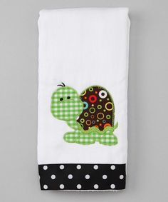 Love the matching burp cloth and boxers!    Take a look at this White Turtle Appliqué Ribbon Burp Cloth by Frazzled & Bedazzled on #zulily today!