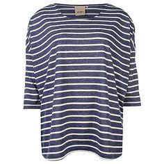 14EUR ICHI Lera ms stripe boxy, blue M@W