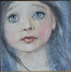child blue realism girl portrait painting k d milstein PFATT