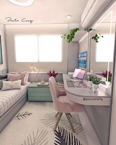 Interior Living Room Design Trends for 2019 - Interior Design Room Ideas Bedroom, Girl Bedroom Designs, Teen Room Decor, Small Room Bedroom, Home Bedroom, Small Apartment Bedrooms, Bedroom Ideas For Small Rooms, Tumblr Bedroom Decor, Teen Bedroom Colors