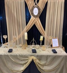 Black, gold and rose gold was our theme at the Quinceanera show. The girls love the rose gold bling! Reception Decorations, Event Decor, Table Decorations, Wedding Draping, Pipe And Drape, Wedding Trends, Quinceanera, Black Gold, Backdrops