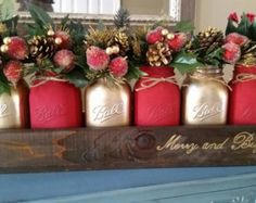 Christmas Centerpiece - Christmas table decor - Christmas home Decor - Mason Jar table decor - Red and Gold Christmas Decor - Christmas
