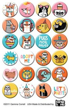 Puppy party pins by Gemma Correll
