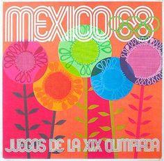 DP Vintage Posters - Mexico City Olympics 1968 Original Vintage Olympics Poster Orange Flowers