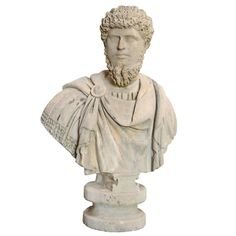 Stone Assumed Bust of Lucius Aurelius Verus, 19th Century | From a unique collection of antique and modern statues at https://www.1stdibs.com/furniture/building-garden/statues/