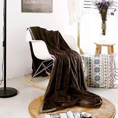 Luxury Collection Ultra Soft Plush Fleece Lightweight All-Season Throw/Bed Blanket, Queen, Cobbled Classic - Dark Walnut