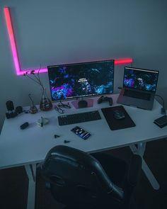 Laptop Gaming Setup, Best Gaming Setup, Computer Desk Setup, Gamer Setup, Gaming Room Setup, Pc Setup, Small Room Design Bedroom, Bedroom Setup, Cool Lock Screen Wallpaper