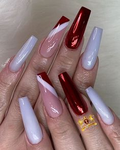 Striped Nail Designs, New Nail Designs, Beautiful Nail Designs, Coffin Nails Matte, Acrylic Nails, Gorgeous Nails, Pretty Nails, Cute Gel Nails, Color Block Nails