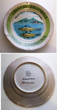 Piatto del buon ricordo TIMBRO A MANO - Locanda dell Isola - Pesce alla contrab