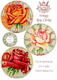 Antique Seed Catalog Reinvented: 1914 Miss Ella V. Baines Rose Clocks No 4 of 4