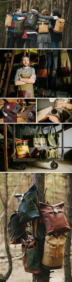 Made with vintage military surplus materials and leather, Kruk Garage's…