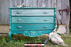 This gorgeous Teal Dresser has ombre drawers painted using five different shades of teal chalk paints from Heirloom Traditions. A colorful Farmhouse blend.
