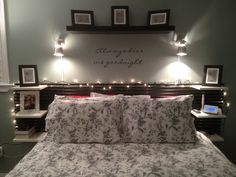 "ikea headboard, shelve & frames. ""always kiss me goodnight"" house warming gift from j&m;."
