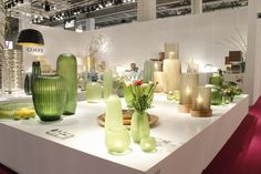It's spring time! Light green, colourful flowers and and wonderful GUAXS vases! http://guaxs.de/ #spring #guaxs #flowers #vases #Messe #convention #exhibition #Ambiente #light #green #interior #design